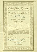 Ein Schuldschein zum Bau des Ronhofs im Wert von 5 Mark aus dem Jahr 1910.