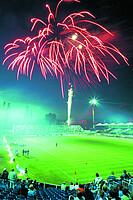 Feuerwerk zur Flutlichteinweihung im Jahr 1999.