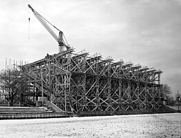 Gerüst der Tribüne im Jahr 1950.