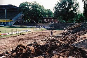 Bauarbeiten an der Nordkurve 1997-